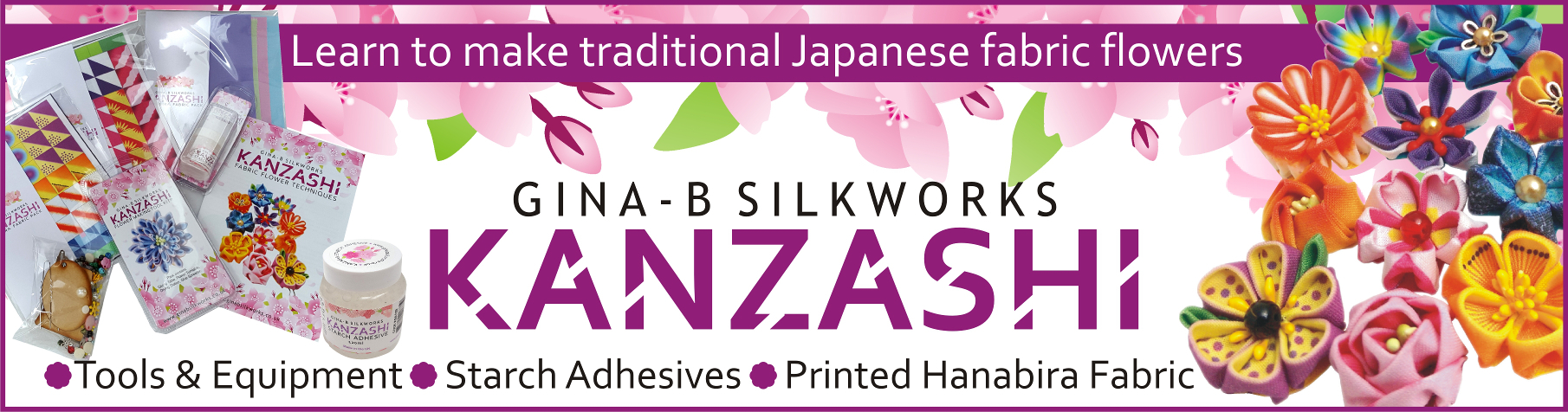 Kanzashi Flower Making tools and materials from Gina-B Silkworks