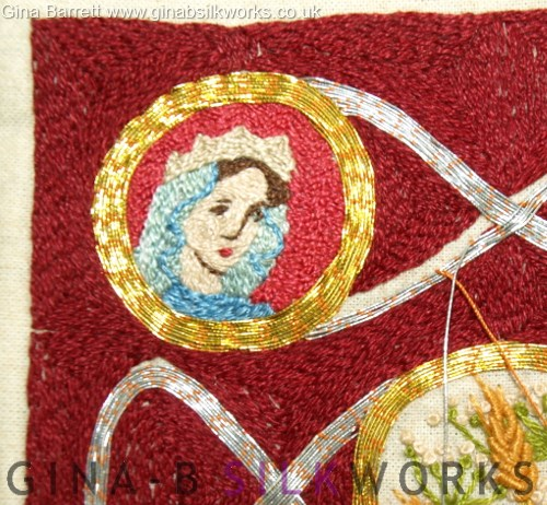 Embroidery sampler by Gina Barrett (detail)