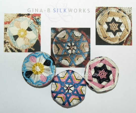 Reproduction passementerie buttons with original source images by Gina Barrett