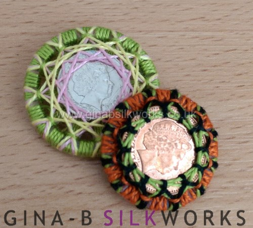 Lucky coin buttons by Gina Barrett