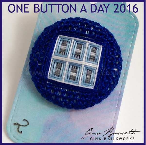 Day 2: Tardis Window #onebuttonaday by Gina Barrett