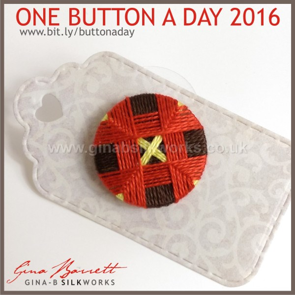 Day 12: Crossed Square #onebuttonaday by Gina Barrett